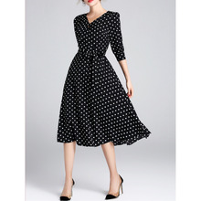 Half Sleeve Printed Casual Polka Dots Midi Dress Europe Couture Black White five V collar sleeve long slim slim dress female