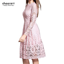 cheerart Women Bohemian White Lace Autumn Crochet Casual Long Sleeve Plus Size Pink/White/Black/Red Dress Clothing - Store store