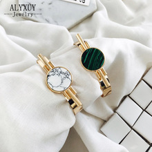 Fashion jewelry fashion  round natural crystal stone stone cuff bangle   gift for women girl  B3510
