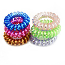 New Shining Bright  Candy Mix Color Telephone Wire Elastic Hair Bands Rope Hair Ring Tie Gum Spiral Rubber Hair Accessories