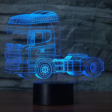 3D LED Heavy Truck Shape Night Light USB 7 Colors Mood Desk Lamp Touch Button Kids Bedroom Christmas Sleep Lighting Home Decor(China)