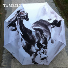 Oil Painting Umbrella Drawing Sunshade Brand Horse Pattern Art Umbrella UV Protection Wind Resistant Quality Umbrella On Sale