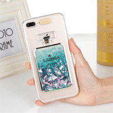 Perfume bottle quicksand Case for iphone 7 7Plus Dynamic liquid glitter Case For iphone 5 SE 6 6s 6Plus girl style(China)