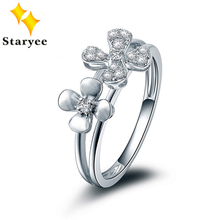 Flower Style Genuine Solid 18K White Gold Ring For Women Simulated Diamonds 0.17CT Certified Birthday Party Gift Free Shipping