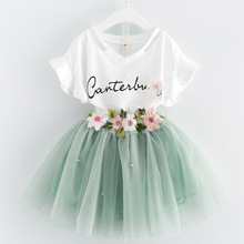 BibiCola 2017 Summer Girls Clothing Sets Girls Clothes Butterfly Sleeve Letter T-shirt+Floral Lace Skirts 2Pcs for Dress Gril(China)