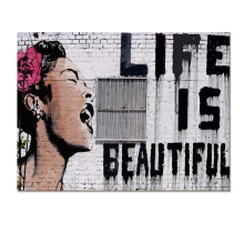 Visual Art Decor Graffiti Art Canvas Printing Life is Beautiful Artistic Canvas Artwork Fashion Interior Giclee Prints(China)
