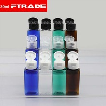 (50pcs/lot)30ml shampoo plastic travel bottles with flip top cap,refillable travel shampoo packaging PET Square bottles