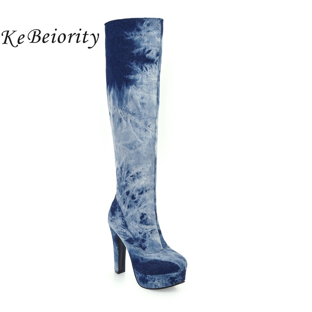 KEBEIORITY Fashion Blue Denim Boots Women 2017 High Heels Knee High Boots Platform Shoes Woman Riding Boots Plus Size 33-48<br>