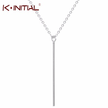 Kinitial 1Pcs 925 Sliver Long Bar Chain Necklace Lariat Charms Bar Necklaces&Pendants For women wedding Fashion Jewelry Gift
