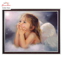 Needlework Crafts DIY 14CT unprinted embroidery French DMC Quality Counted Cross Stitch Kit Oil Painting The Toddler Angel arts