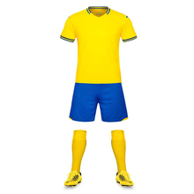 Breathable New Yellow Soccer Sets Men's Student Football Team Soccer Jerseys Uniforms Suits Kit Shirt Can Custom Club Name Logos