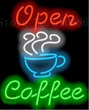 "Custom Neon Sign For Coffee Open Real Glass Tube Bulbs Display Light Lamp Bar Bar Beer Decor Neon Signs decorative 19""x15""(China)"