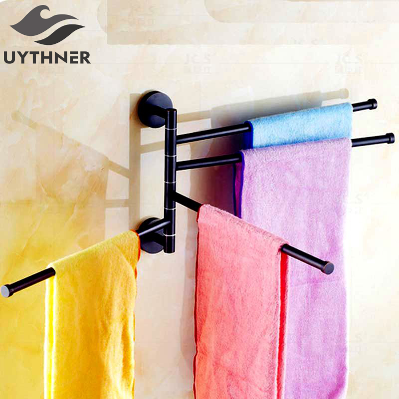 Uythner 180 Degree Rotation Fashion Swivel Bathroom Towel Four Bars With Copper Material Oil Rubbed Bronze Finish<br>