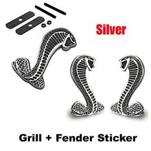 2pcs Sets  Cobra Front Grille Silver + Back Sticker Car Emblem Badge For Ford Mustang Shelby Cobra