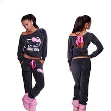 JY.2015New Women Hello Kitty Printed Velvet Sweatshirts 2pcs/Sets Hoodies Pullover Tracksuits Sweatshirt and Pants Plus Size XXL