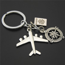 "1PC Airplane Compass Passport Round Camera Key Chains""Every Journey Stars With One Step""Keyring Diy Handmade traveler Jewelry"