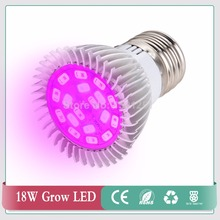 New Arrival 18W E27 5730 Full spectrum LED Grow Lights 18 leds 12Red+6Blue Lamp for Flower Plant Hydroponics Light AC 85-265V(China)