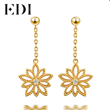 EDI Real Natural Diamond Drop Earrings For Women 14k 585 Yellow Gold Star Flower Long Earring Fine Jewelry(China)