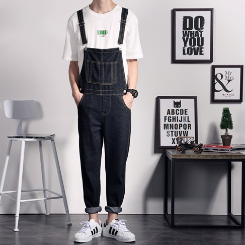 New Brand Mens Black Denim Overalls Men Denim Pants Suspenders Jeans Black Male Denim Jumpsuit Salopette