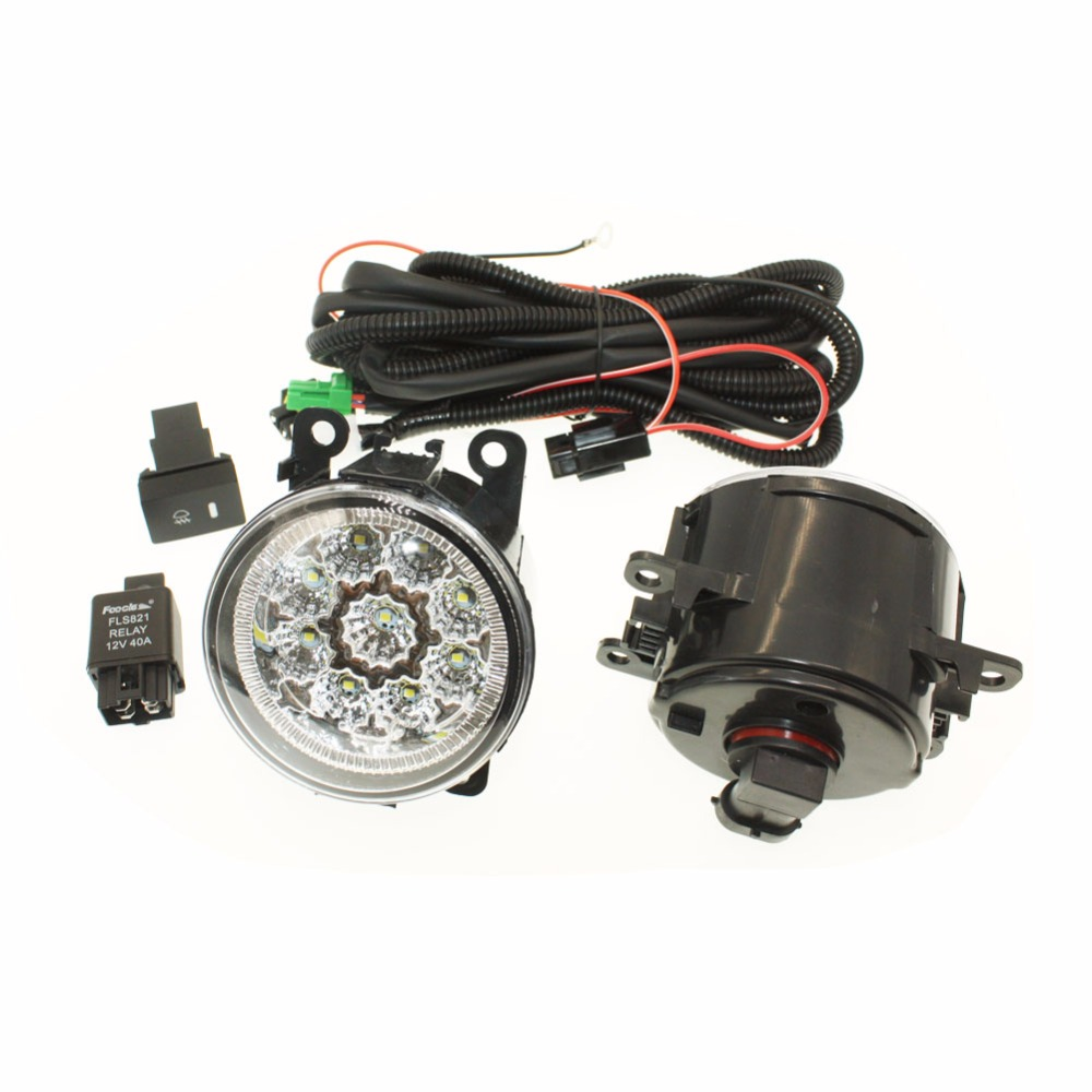 For MITSUBISHI L200 KB_T KA_T Pickup  H11 Wiring Harness Sockets Wire Connector Switch + 2 Fog Lights DRL Front Bumper LED Lamp <br>