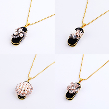 Charming Women Necklaces Pendants USB 16 GB Flash Drive 2.0 Metal Waterproof Memoria USB Stick 128GB 64GB 32GB 8GB For Lady Gift(China)