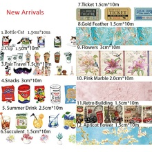 10m Washi Masking Tapes Retro Coffee Flower Drinks Cans Decorative Adhesive Scrapbooking DIY Paper Japanese Stickers