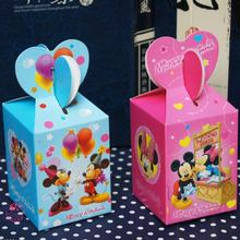 50pcs/lot High Quality Mickey And Minnie Candy Box Favor Box Blue And Pink 12*6*6cm For Baby Shower Birthday Party
