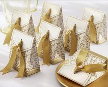 Free shipping 50pcs Gold Ribbon Gift Paper Bags Engagement Anniversary Wedding Party Cake Favour Favor Gift Boxes wedding decor
