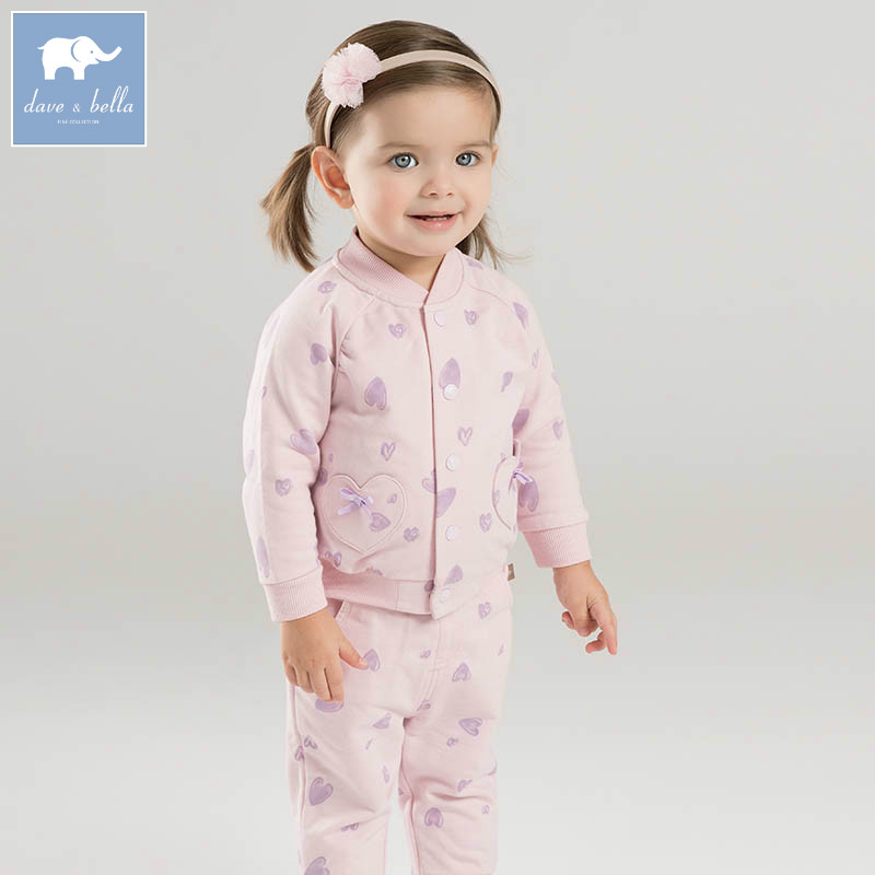 DBM7307 dave bella spring infant baby girls fashion hearts print print clothing sets children 2 pc toddler baby suit<br>