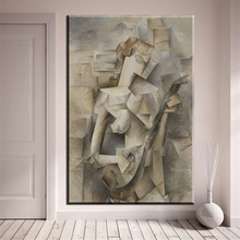 xh842 Girl with Mandolin 1910 by Pablo Picasso famous unframed paintings art printed canvas for bedroom decor