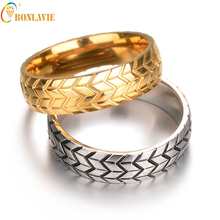 Rings Women Men Hot Sale Titanium Steel Engraving Fashion Tire Design Metal Gold Silver Color Ring Party
