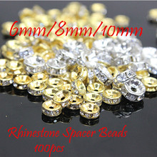 MRHUANG 6mm/8mm/10mm AAA Metal Silver Golden Plated Crystal Rhinestone Rondelle Spacer Beads 100Pcs Free Shipping