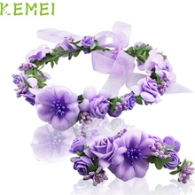 2017 Hot   Purple Hair band Wedding Hair Accessories Wrist Flower Garland Seaside Holiday Pictures  Mar12