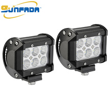 3.8 inch 2pcs 18W 1500LM Led Flood Beam Flood Light Led Fog Lamp Offroad IP67 Waterproof Bar for Off-road Vehicle, ATV, UTV, 4X4