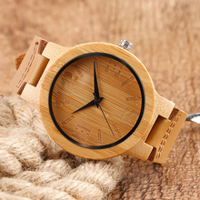 100% Nature Wood Watches Creative Simple Numbers Wristwatch Men's Genuine Leather Quartz Watches Men Bamboo Handmade Clock Gift