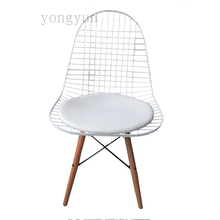 FREE SHIPPING Replica Charles Wire Chair minimalist modern fashion dining chair powder coating Iron Wooden feet chairs(China)
