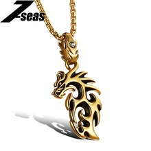 Hiphop Jewellery Fire Dragon Pendant Necklace Silver/Gold Color Hollow Out Stainless Steel+ Cubic Zirconia Men Necklace,GX946(China)