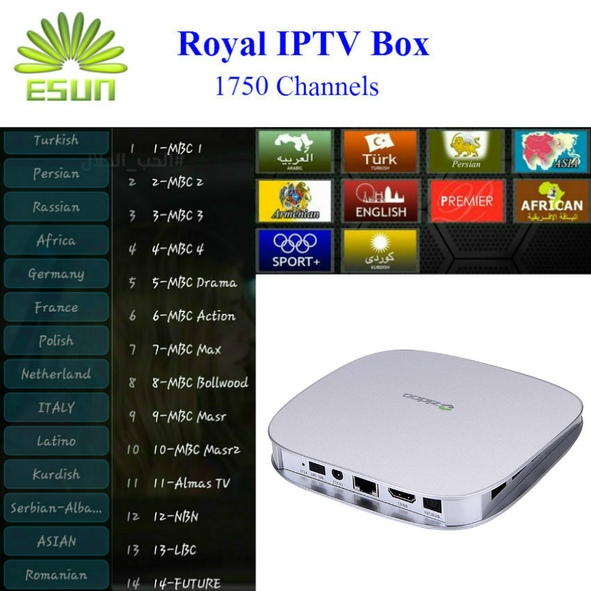 Newest Amlogic S905 ZIDOO X5 Android 5.1  Royal IPTV 1730+live channels arabic Europe iptv Quad Core TV Box with 1/8GB H.265<br><br>Aliexpress