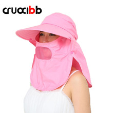 CRUOXIBB Fashion Summer Sun Hats For Women Solid Cycling Visor UV Protection Foldable Hats Casquette Mask Caps Chapeau Femme