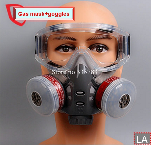 1PCS Gas mask + goggles High quality paint gas respirator  pesticide graffiti filter mask anti-explosion anti shock goggles<br><br>Aliexpress