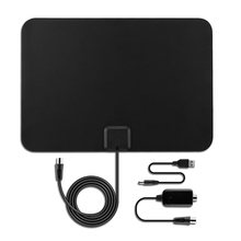 Pictek 25dBi EU US Plug Ultra-thin Indoor Digital HDTV TV Antenna with Detachable Amplifier Signal Booster + 25cm Long Cable