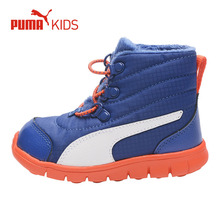 PUMA Winter Warm Leather Fur Snow Boots Children Boys Shoe Plush Lace Up Casaul Sport Sneakers Baby Kids Brand Shoe(China)