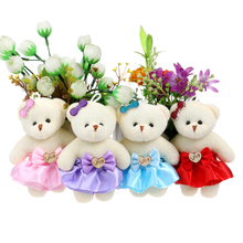 For Christmas Gift Wooden Love Design Plush Toys Dress Cute Mini Model Bear Wedding Home Decoration Accessory Teddy Toys