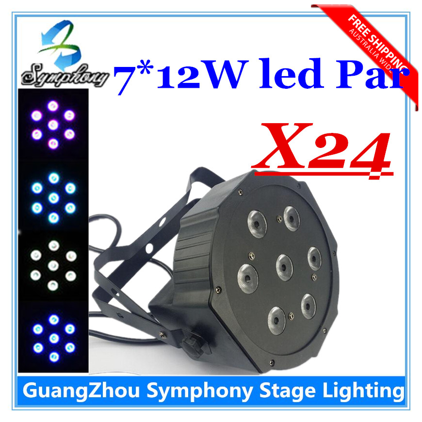 24pcs  7X12W RGBW 4in1 DMX Stage Lights Business Lights Led Flat Par High Power Light with Professional for Party Quiet no noise<br><br>Aliexpress