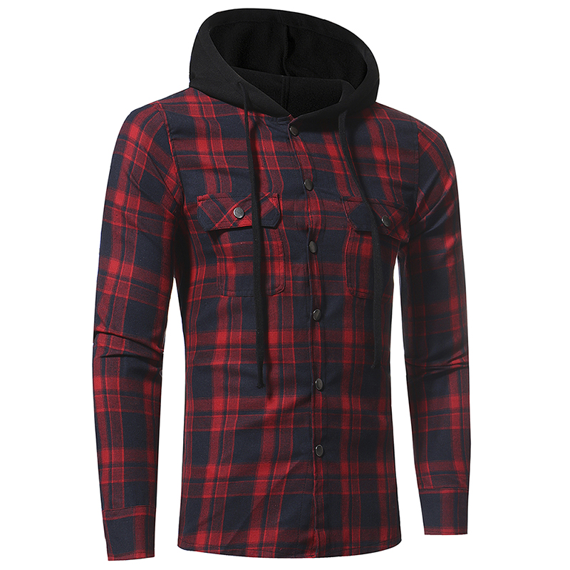 Plaid Shirt 2018 Autumn Fashion Shirts Men Casual Brand Clothing Men Shirt Long Sleeve Casual Lattice Hooded Camisa Social XXXL 4