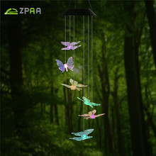 Color-Changing LED Solar Power Wind Chime Lamp LED Butterfly Path Garden Light Waterproof Solar Panel Lamps Decoration(China)