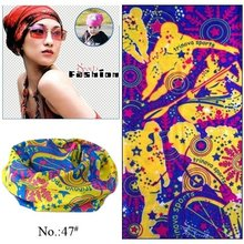 100pcs/lot Wholesale Nice Purple And Yellow Sport Style Microfiber Tube Multifunction Seamless Headwear (Mixed Design Available)