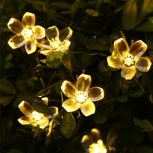 Christmas Solar Powered Flower Fairy String Lights 7M 50 LED Peach Blossom Decorative for Garden Lawn Patio Wedding Party(China)