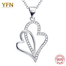 YAFEINI 925 Sterling Silver Jewelry Crystal Heart With A Heart Mean Heart Link Heart Necklace Pendant GNX9882(China)