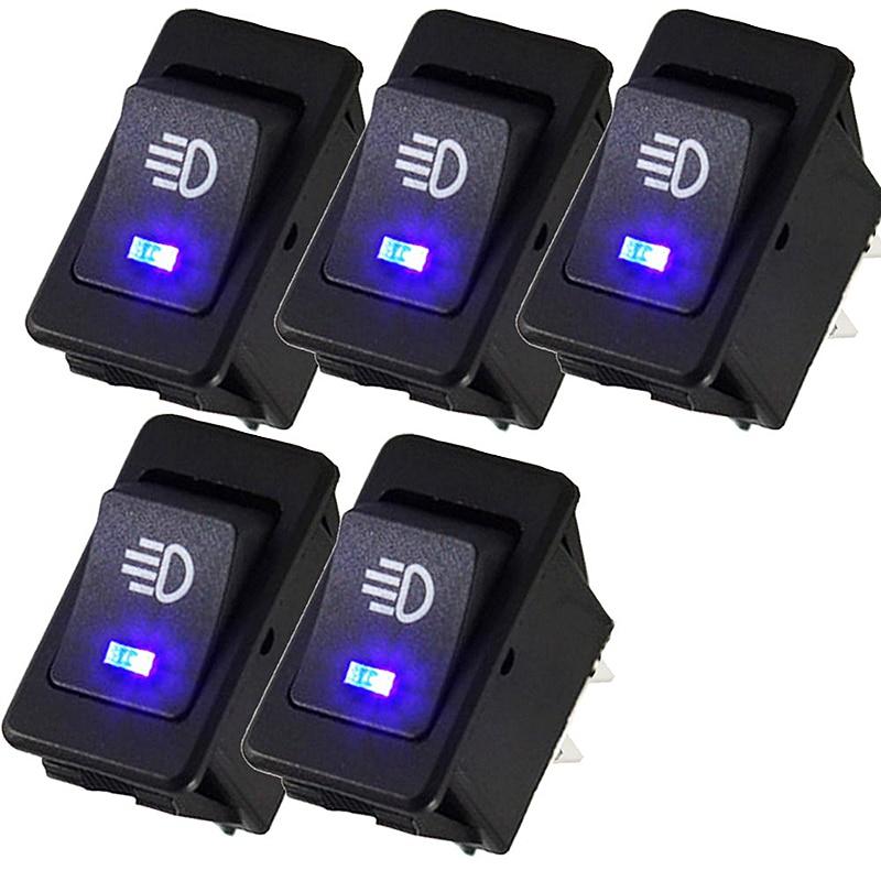 5PCS/LOT 12V 35A Car Auto Fog Light Rocker Toggle Switch Blue LED Dashboard VCR40 P10<br><br>Aliexpress